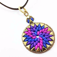 Swirl Pendant Jewellery Kit with Kheops Par Puca and SuperDuos - Neon Blue, Violet & Orchid with Gold